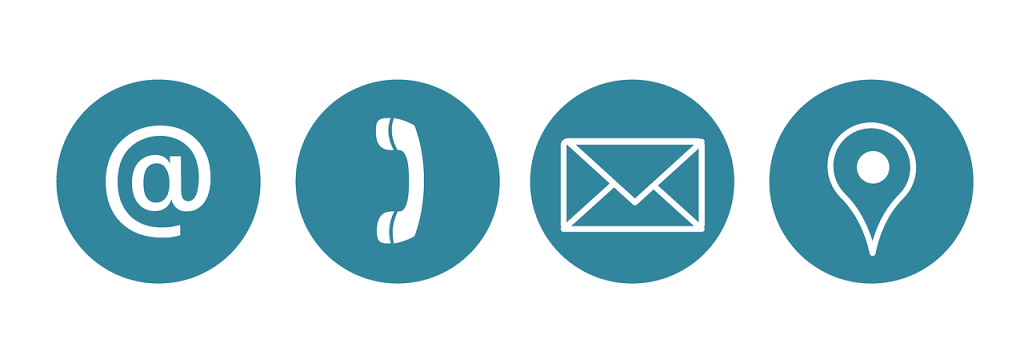 Email, phone, letter, and location icons